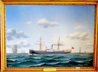 Jorgen Dahl (Danish 1825-1890) Steamship Painting seascape