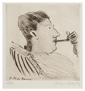 Milton Avery, (American, 1885-1965), Rothko with Pipe, 1936
