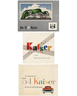 Three Kaiser full-line sales brochures, 1950, 1951 and 1954