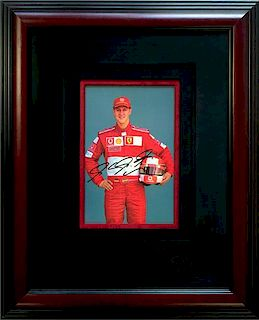 Michael Schumacher portrait Color photograph, 2001, autographed