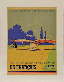 Premier Décollage du Premier Avion original promotional poster by Lucien Cave, France, 1930's