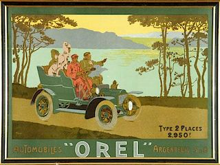 Automobiles Orel advertising poster, by Thor, France