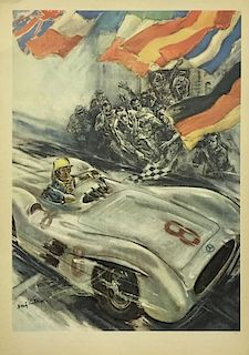1954 1955 Mercedes-Benz original victory poster by Hans Liska, Germany, 1955