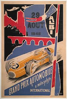 Grand Prix Automobile et Motocycliste International d'Albi 1948 original poster by Howard Julien
