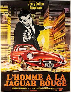 L'homme a la Jaguar Rouge (Death in a Red Jaguar), 1968, movie poster, by Saukoff, Germany