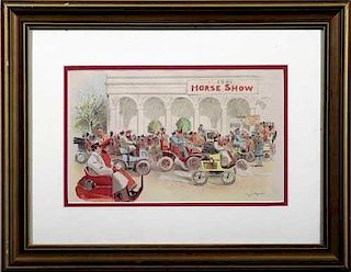 Horseless Carriages Arrive at the Horse Show-1901 period lithograph by C. J. Taylor, USA