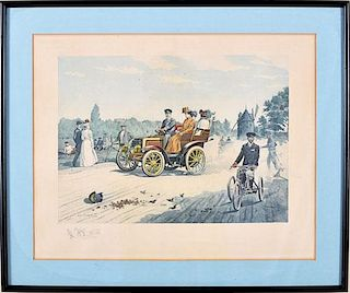 Early motoring scene, 1900, period print by Eugene Courboin, France