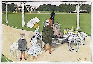 L'Elégante à l' Automobile by Maurice Biais, France, ca. 1905, multicolor lithograph
