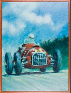 Alberto Ascari in Ferrari 125 by Peter Hearsey (1986)
