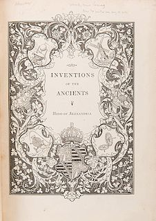 [Invention] Woodcroft, Bennet. Inventions of the Ancients.