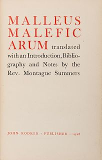 [Witchcraft] Summer, Montague (trans.) Malleus Maleficarum.