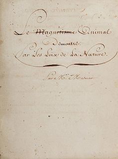 [Mesmer, Franz Antoine] Anonymous Student. Le magnetisme animal
