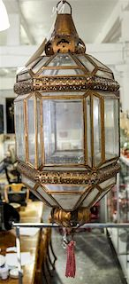* A Spanish Baroque Style Gilt Tole Hexagonal Hall Lantern Height 20 1/4 inches.