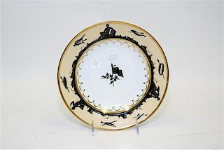 * A French Parcel Gilt and Painted Porcelain Soup Plate Diameter 9 inches.
