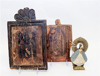 * Two Spanish Colonial Wood Icons Largest 13 x 8 1/8 inches.