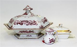 * An English Purple Transfer-Printed Covered Entree Dish Length of entree dish 12 1/4 inches.