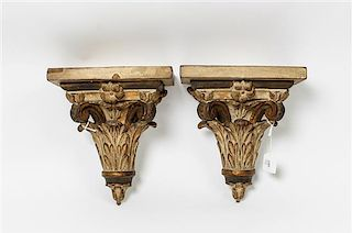 * A Pair of Parcel Gilt Wall Brackets Height 10 inches.