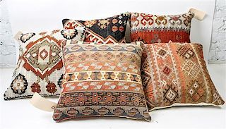 * Five Kilim Upholstered Pillows 17 x 17 inches.