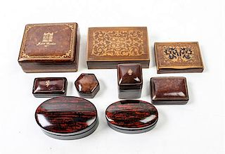 * A Group of Nine Small Decorative Boxes Width of widest 4 1/4 inches.