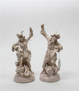 * Two French Soft Paste Porcelain Figures Height 10 3/4 inches.