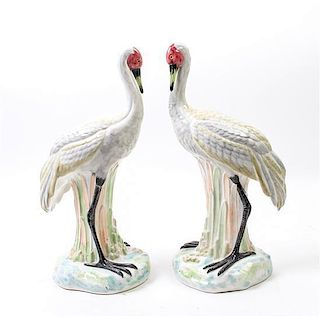 * A Pair of Italian Ceramic Models of Birds Height 15 1/2 inches.