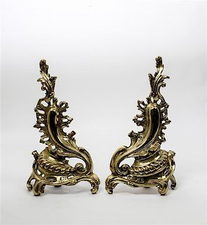 * A Pair of Louis XV Style Brass Chenets Height 17 inches.