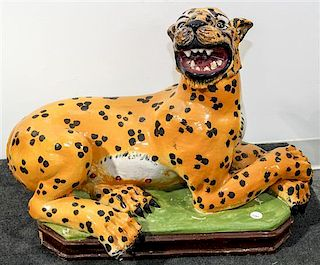 * An Italian Ceramic Model of a Leopard Width 26 inches.