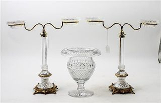 * An Assembled Cut Glass and Gilt Metal Garniture. Height 16 inches.