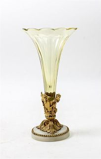 * A Continental Gilt Bronze and Glass Vase Height 12 1/4 inches.