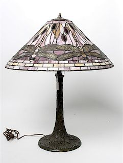 An American Leaded Glass Table Lamp Height 25 5/8 inches.