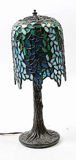 An American Leaded Glass Table Lamp Height 15 1/8 inches.