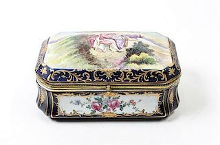 * A Sevres Style Gilt Metal Mounted Porcelain Table Casket Width 11 1/2 inches.