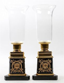 * A Pair of Empire Style Gilt Bronze and Marble Candle Holders Height 18 inches.