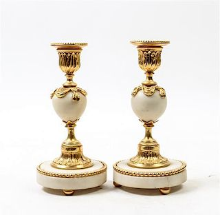 * A Pair of Gilt Bronze and Marble Candlesticks Height 7 1/2 inches.