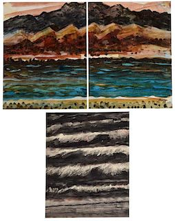 (3) MICHAEL FRARY (1918-2005) THREE WATERCOLORS