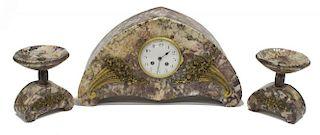 (3)FRENCH ART DECO MANTLE CLOCK & GARNITURES