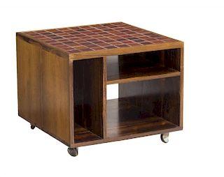 DANISH MID-CENTURY MODERN TEAKWOOD TILE SIDE TABLE