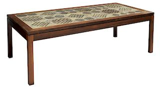 MID-CENTURY MODERN ROSEWOOD & TILE COFFEE TABLE