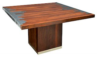 ITALIAN MODERN ROSEWOOD & METAL ACCENTED TABLE