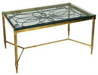 BEVELED LEADED GLASS & BRASS COFFEE TABLE