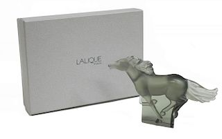 LALIQUE FRANCE ART CRYSTAL KAZAK GREY HORSE FIGURE