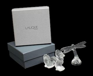 (2) LALIQUE ART CRYSTAL DRAGON FLY & DRAGON FIGURE