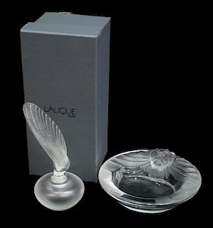 (2) LALIQUE ART CRYSTAL SHELL PERFUME & LION BOWL