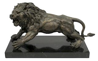 PATINATED BRONZE STANDING LION TABLE SCULPTURE