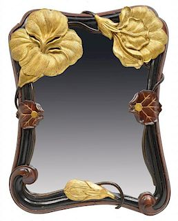 ART NOUVEAU FRAMED & GILT FLORAL MIRROR