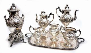 (7) ORNATE LANDSCAPE SILVERPLATE TEA & COFFEE SET