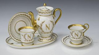 (6)LIMOGES NAPOLEONIC DECOR PORCELAIN TEA SERVICE
