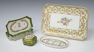 (7) LIMOGES PORCELAIN MINIATURE BOXES & TRAYS