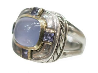 DAVID YURMAN CHALCEDONY & IOLITE ESTATE RING