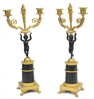 (2)FRENCH EMPIRE STYLE GILT METAL PUTTI CANDELABRA